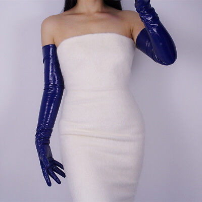 LATEX LONG GLOVES Shine Leather Faux Patent 28