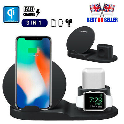 3in1 Qi Wireless Charger For Apple Watch iPhone for AirPods Stand Fast Charging