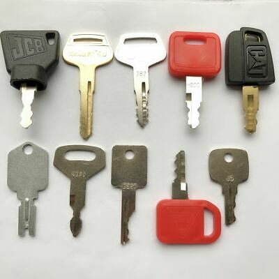 10 Keys Heavy Equipment Construction Ignition Key Set Cat Deere Komatsu Jcb