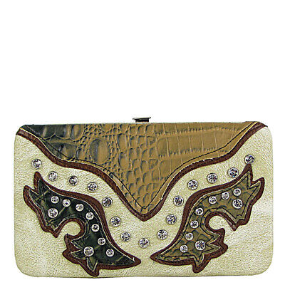 BEIGE WESTERN RHINESTONE STUDDED ALLIGATOR WESTERN BLING LOOK FLAT THICK -