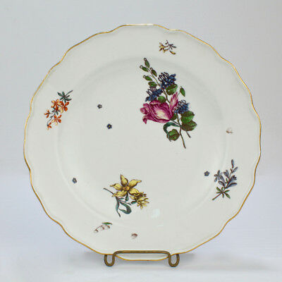 Antique 18C Meissen Porcelain Plate Deutsche Blumen Floral Sprays Flowers - PC