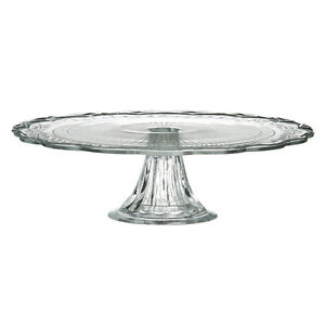 Vintage Style Clear Glass Pedestal Cake Plate Stand 30cm Cupcake Party Display