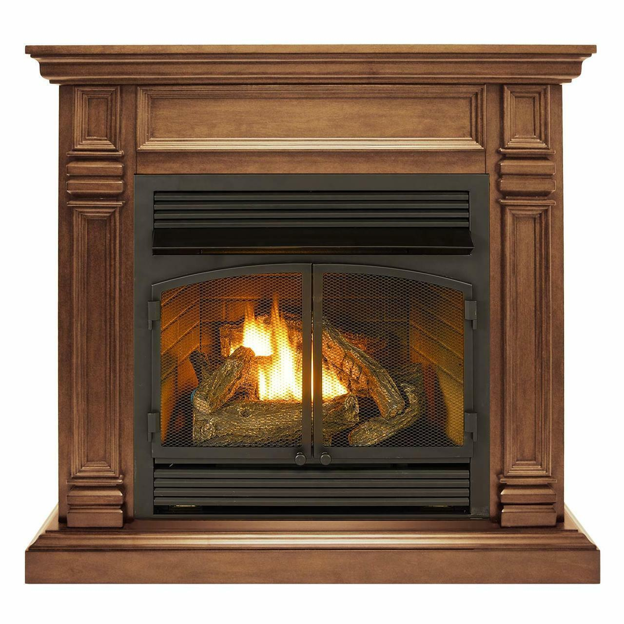 Duluth Forge Dual Fuel Ventless Gas Fireplace With Mantel 32