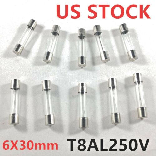 10pcs/lot 8A 250V Slow Blow Acting Fuse Glass Tube 8 amp Time Delay Fuse 6X30mm
