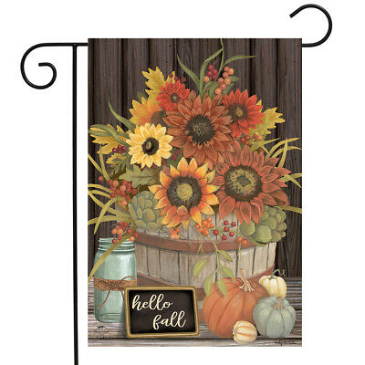 "Hello Fall Floral Primitive Garden Flag Autumn Sunflowers 12.5"" x 18"""