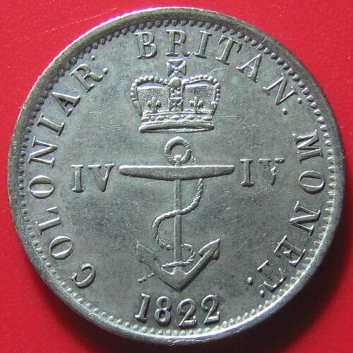 1822 BRITISH WEST INDIES 1/4 DOLLAR SILVER ANCHOR SUPERB & RARE COLONIAL COIN!!!