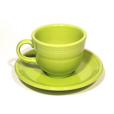 Fiesta Lemongrass Teacup, Tea Cup & Saucer, Homer Laughlin China Co., Never Used