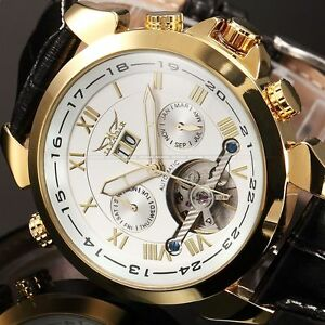 Mens-Leather-Band-Mechanical-Classic-dial-Luxury-Golden-Mens-Wrist-Watch