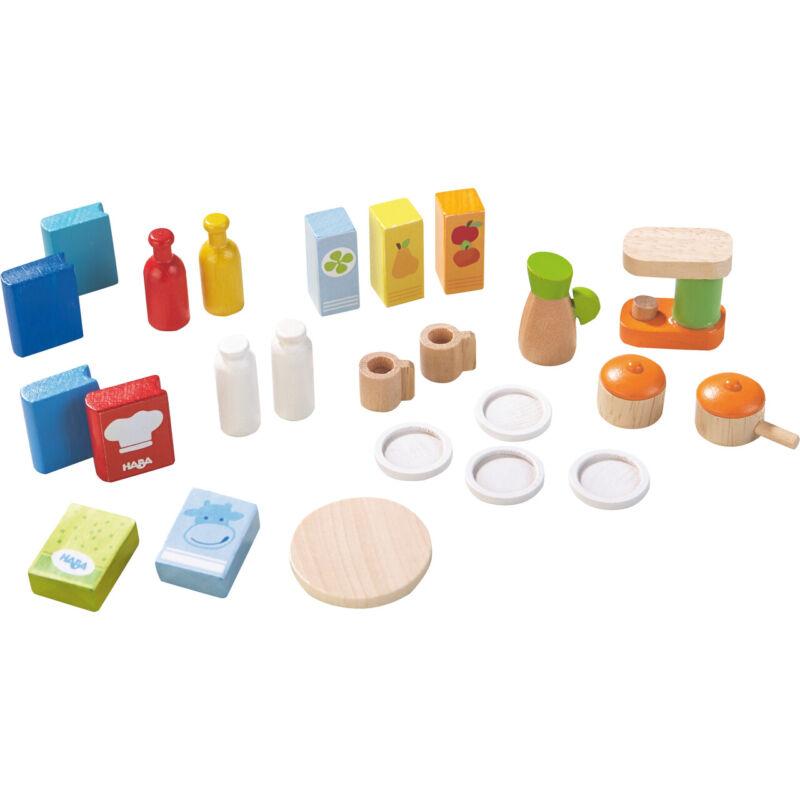 HABA Little Friends Dollhouse Kitchen Accessories - 24 Piece Set