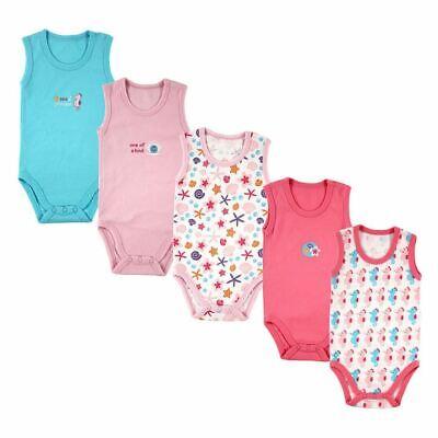Luvable Friends Girl Sleeveless Bodysuits, 5-Pack, Pink-Ocean