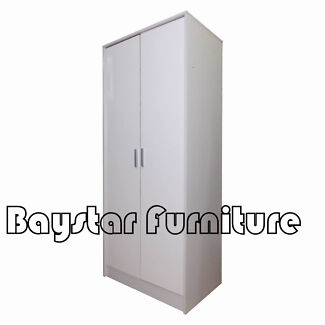 Brand New Wooden Wardrobe White Colors 2 Doors with Mirror