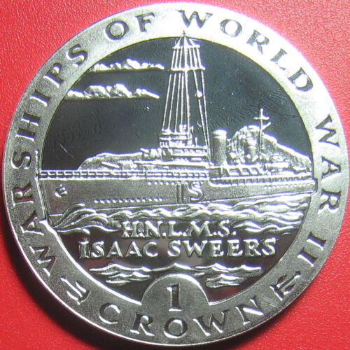 1993 GIBRALTAR 1 CROWN SILVER PROOF ISAAC SWEERS NETHERLANDS WWII NAVY WARSHIP