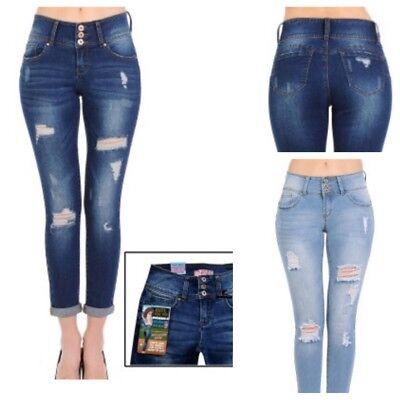 WaxJean Denim Women's Juniors Distressed Push-Up 3 Button Skinny Jeans - Juniors Distressed Skinny Jeans
