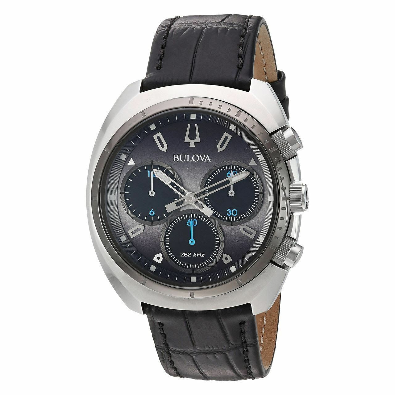 Bulova Men's Chronograph Curv Black Leather Strap Watch 43mm