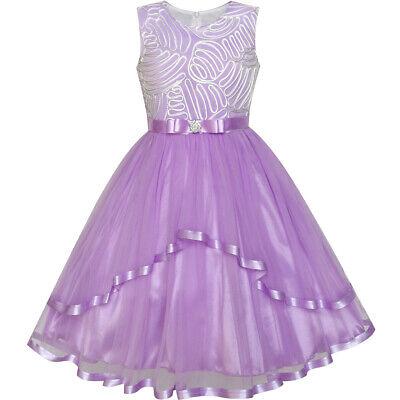 Flower Girl Dress Purple (US STOCK! Flower Girl Dress Purple Belted Wedding Party Bridesmaid Size)