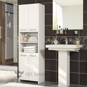 Modern White Tall bathroom storage  4 Doors Cabinet  FAST & FREE Shipping !