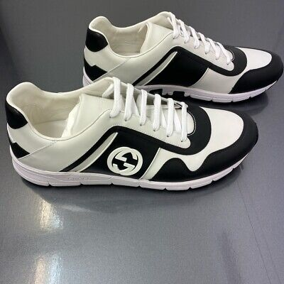 Mens Gucci Leather GG Trainers, Black, White, Size UK 8, BNIB RRP £500!