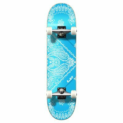 "Yocaher Graphic 7.75"" Complete Skateboard - Bandana SkyBlue"