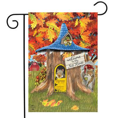 "Fall Nut House Squirrels Garden Flag Humor Autumn 12.5"" x 18"