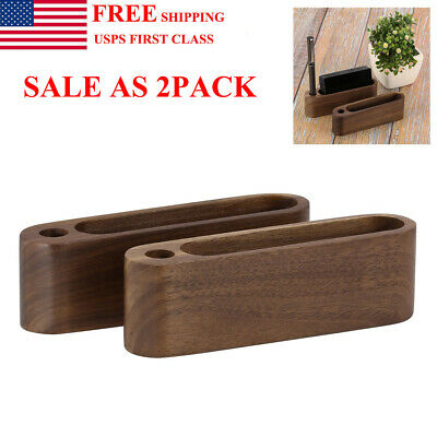 Wood Business Card Holder Name Id Credit Card Stand Desktop Display For Office