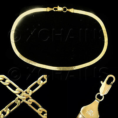"14K ITALY GOLD PLATED 3mm HERRINGBONE CHAIN 9.5""  ANKLET BRACELET GUARANTEED H3C"
