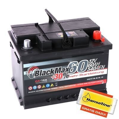 Autobatterie 12V 60Ah 540A/EN BlackMax Starterbatterie statt 55Ah 56Ah 62Ah 65Ah