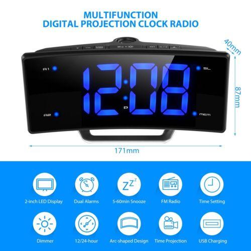 Digital Alarm Clock LED Wall/Ceiling Projection LCD Digital FM Radio Dual  Alarms
