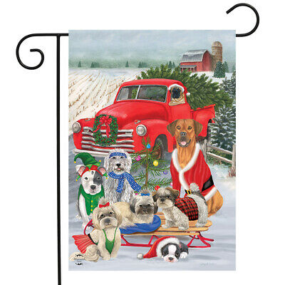 "Holiday Dogs Christmas Garden Flag Pickup Truck Humor 12.5"""