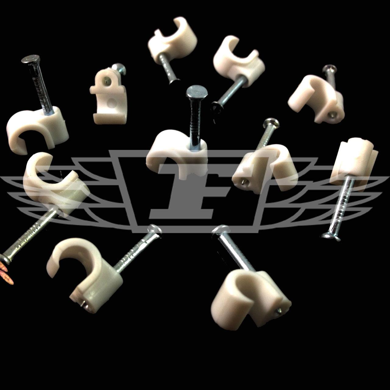 Cavo COASSIALE 5//6mm Bianco Clip con chiodi di fissaggio Antenna Cavo Coassiale Satellite TV telefono