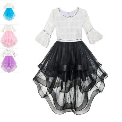 Kids Girls Dress White and Black Hi-lo Party Birthday Pageant  6-14 Formal