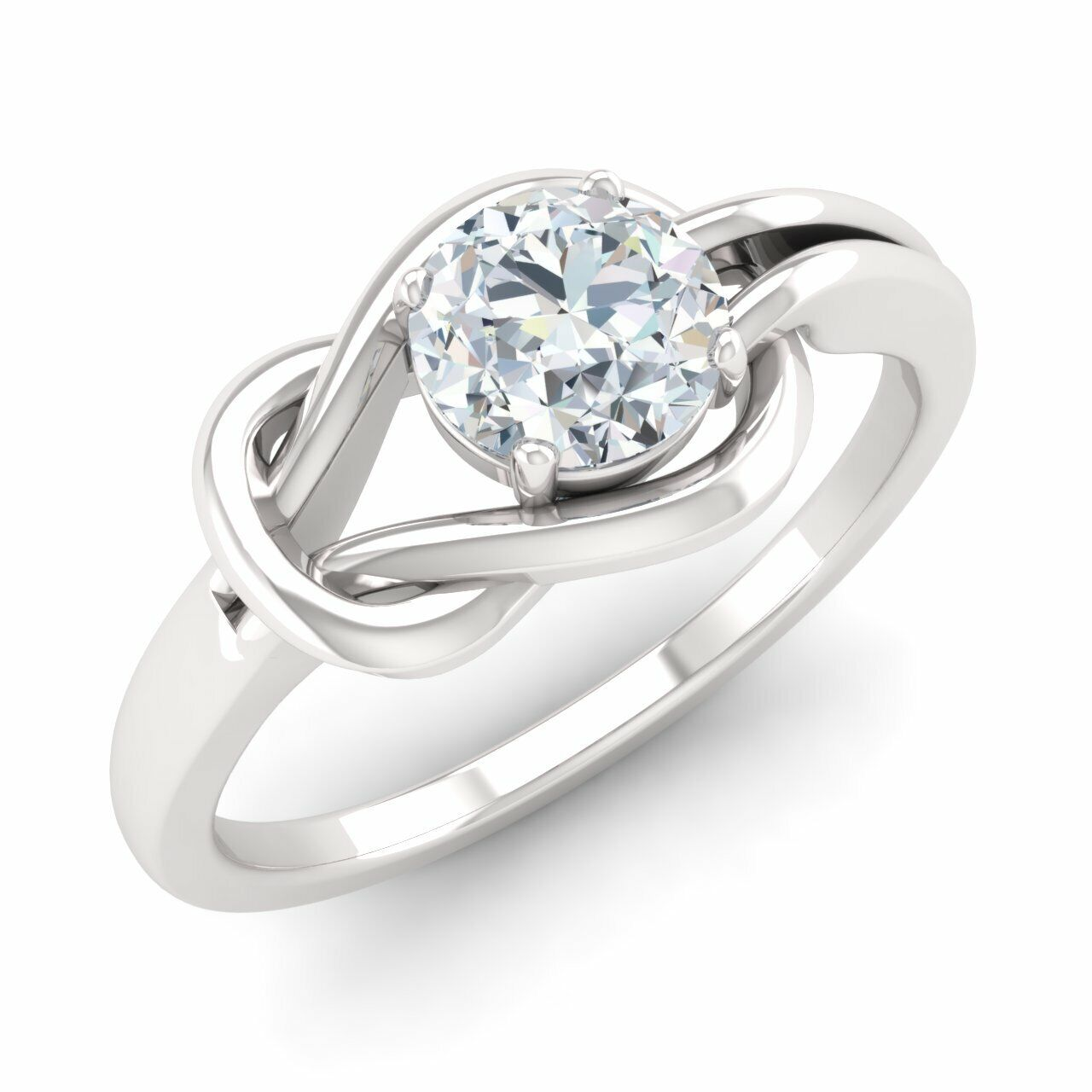 GIA Certified 0.30 Ct Real H/SI1 Diamond 14k White Gold Engagement Ring Size 6