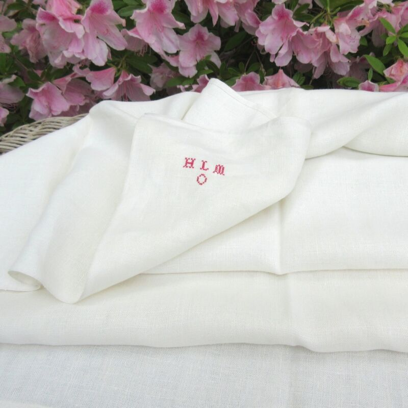 """Vintage French Linen Dish Towel, Monogrammed, 43 ¼"""" x 31 ½"""""""
