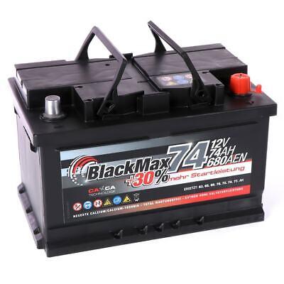 PKW Batterie Autobatterie 12V 74Ah 680A BlackMax Starterbatterie statt 70Ah 72Ah