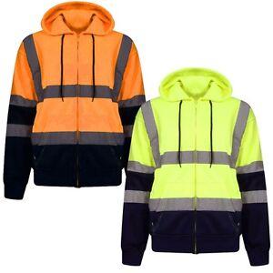 Hi-Viz-Vis-High-Visibility-Hoodie-Full-Zip-Two-Tone-Hoody-Pullover-Fleece-Top