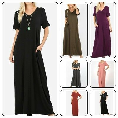 Zenana  Women's Premium Long Maxi  Dress  Short Sleeve with Side Pockets(S-XL)