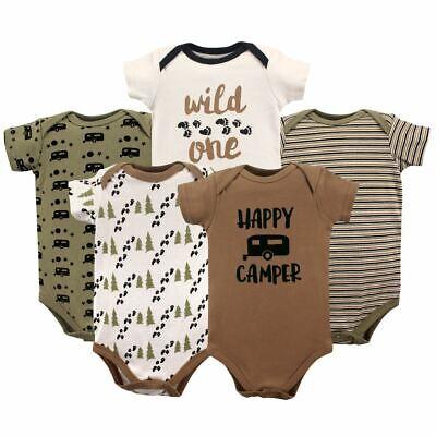 Luvable Friends Boy Bodysuits, 5-Pack, Happy Camper