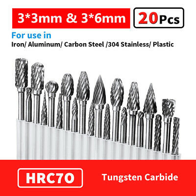 20pcs Head Tungsten Carbide Steel Rotary Burr Die Grinder Bit Shank Carving Set