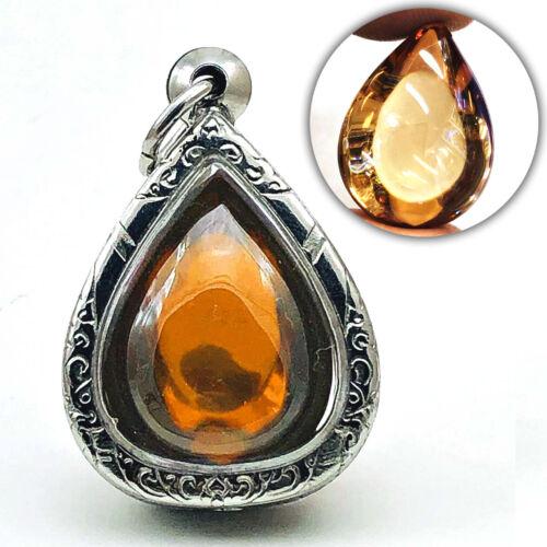 Leklai Naga Eye Crystal Healing Fortune Stone Thai Amulet Teardrop Orange #16635