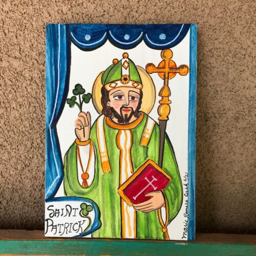 Saint Patrick,  Retablo, Santo, Ireland, Snakes,   San Patricio, protection