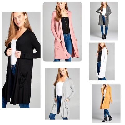 - Womens Long Sleeve Slouchy Open Front Cardigan with Pockets Mid Length (S-XL)