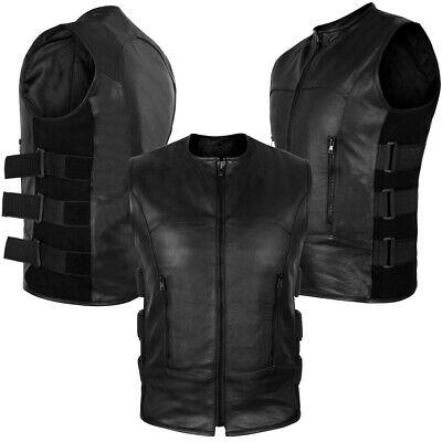 ARD Champs™ Men's Swat Motorcycle Biker Leather Vest with Adjustable Sides