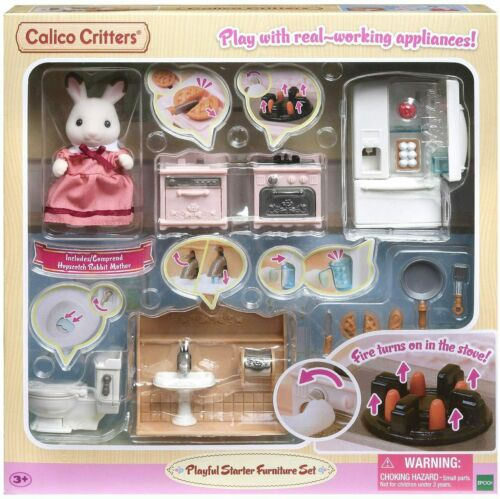 CALICO CRITTERS PLAYFUL FURNITURE STARTER SET RABBIT CRITTER, STOVE, CUPS CC1882