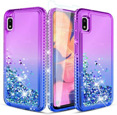 Samsung Galaxy A10e Case W/ Tempered Glass Screen Protector, Luxury Girls Women