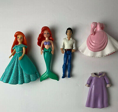 Polly Pocket Little Mermaid Ariel Set Prince Eric Outfits Dresses Tail Disney