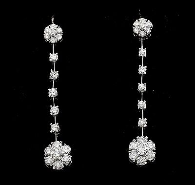 2.10Ct Natural VS1-VS2 Diamond 14k Solid White Gold  Earrings Vs1 Vs2 Earrings