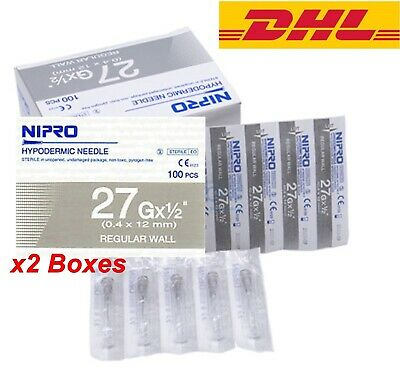 2box 27g X12 Nipro Hypodermic Needle Thin Wall 0.4 X12 Mm Sterile Science Lab