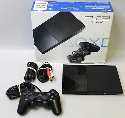 SONY PLAYSTATION 2 PS2 SLIM SCPH-90001 CONSOLE - TESTED W/ EXTRAS