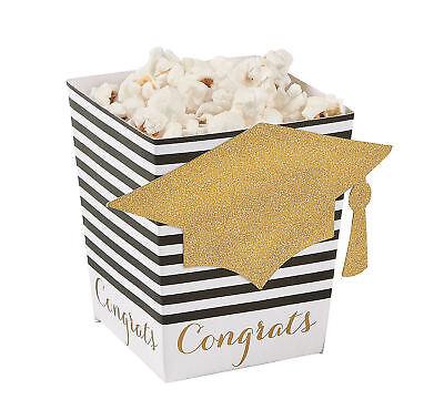 24 Graduation Popcorn Boxes Black & Gold GRAD Party Decorations Favors Goody box - Black Party Decor