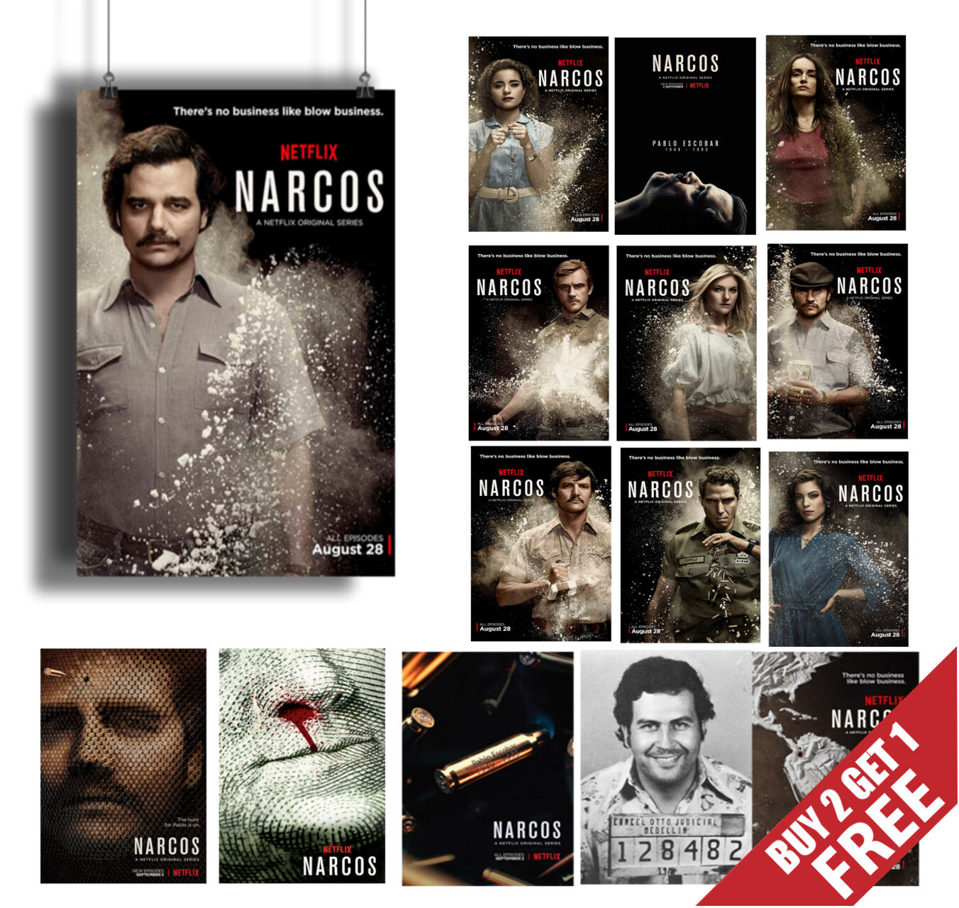 NARCOS TV Series A3 A4 POSTER OPTIONS Show Print Home Wall Art Decor GIFT 4 FANS