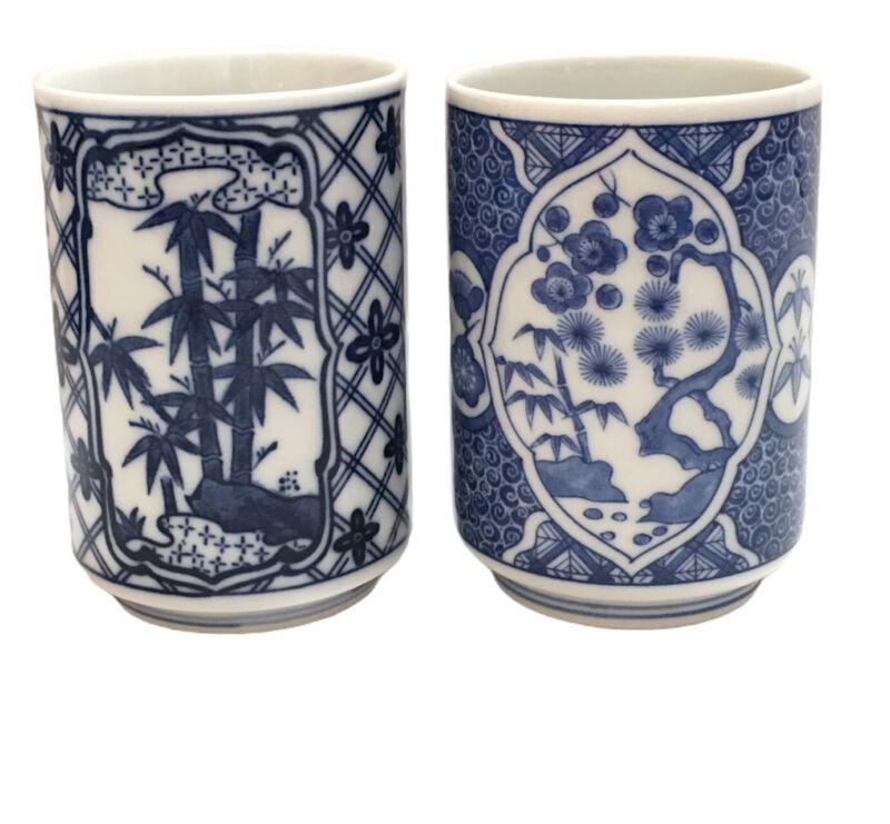 Pair of Vintage Blue and White Sake Cups Tea